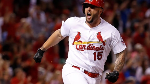 <p>               St. Louis Cardinals' Matt Adams celebrates after hitting a two-run double during the eighth inning of a baseball game against the San Francisco Giants on Friday, Sept. 21, 2018, in St. Louis. (AP Photo/Jeff Roberson)             </p>