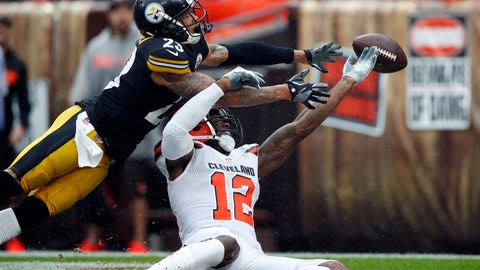 <p>               FILE - In this Sunday, Sept. 9, 2018, file photo, Cleveland Browns wide receiver Josh Gordon (12) and Pittsburgh Steelers defensive back Joe Haden (23) reach for the ball during an NFL football game in Cleveland. In a slopfest of an opener, the Steelers and Browns drew 21-21. (Jeff Haynes/AP Images for Panini, File)             </p>