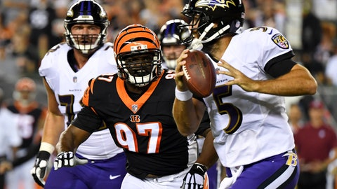 <p>               Cincinnati Bengals defensive tackle Geno Atkins (97) chases down Baltimore Ravens quarterback Joe Flacco (5) before completing the sack in the first half of an NFL football game, Thursday, Sept. 13, 2018, in Cincinnati. (AP Photo/Bryan Woolston)             </p>