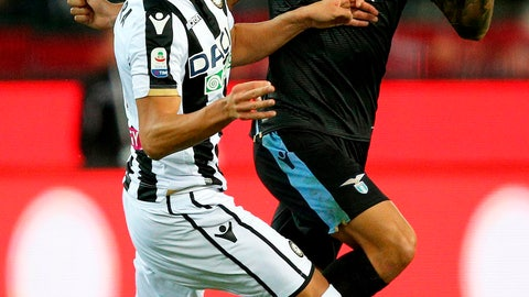 <p>               Udinese's Rolando Mandragora, left, and Lazio's Joaquin Correa vie for the ball during a Serie A soccer match between Udinese and Lazio at the Friuli stadium in Udine, Italy, Wednesday, Sept.26, 2018. (Stefano Lancia/ANSA via AP)             </p>