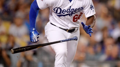 <p>               Los Angeles Dodgers' Yasiel Puig runs to first after hitting a single during the third inning of a baseball game against the Arizona Diamondbacks, Friday, Aug. 31, 2018, in Los Angeles. (AP Photo/Mark J. Terrill)             </p>