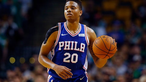 <p>               FILE - In this Oct. 9, 2017, photo, Philadelphia 76ers guard Markelle Fultz controls the ball during the first quarter of a preseason NBA basketball game against the Boston Celtics in Boston. Philadelphia 76ers coach Brett Brown is expecting more out of guards Ben Simmons and Markelle Fultz this season. The guards failed to hit a 3-pointer last season. Brown says the duo will have to be better from long range this season. (AP Photo/Winslow Townson, File)             </p>