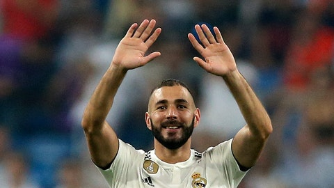 <p>               Real Madrid's Karim Benzema celebrates his team's second goal during the Spanish La Liga soccer match between Real Madrid and Leganes at the Santiago Bernabeu stadium in Madrid, Saturday, Sep. 1, 2018. (AP Photo/Andrea Comas)             </p>