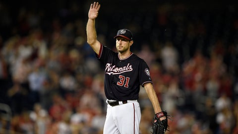 <p>               Washington Nationals starting pitcher Max Scherzer waves to the crowd after he recorded his 300th strikeout of the season during the seventh inning of a baseball game against the Miami Marlins, Tuesday, Sept. 25, 2018, in Washington. (AP Photo/Nick Wass)             </p>