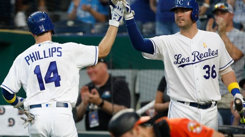 <p>               Kansas City Royals' Brett Phillips (14) is congratulated by Cam Gallagher (36) after hitting a home run in the fourth inning of a baseball game against the Baltimore Orioles at Kauffman Stadium in Kansas City, Mo., Saturday, Sept. 1, 2018. Orioles catcher Austin Wynns is pictured in the foreground. (AP Photo/Colin E. Braley)             </p>