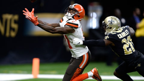 <p>               Cleveland Browns wide receiver Antonio Callaway, left, prepares to catch the ball for a touchdown over New Orleans Saints cornerback Ken Crawley during the second half of an NFL football game in New Orleans, Sunday, Sept. 16, 2018. (AP Photo/Bill Feig)             </p>