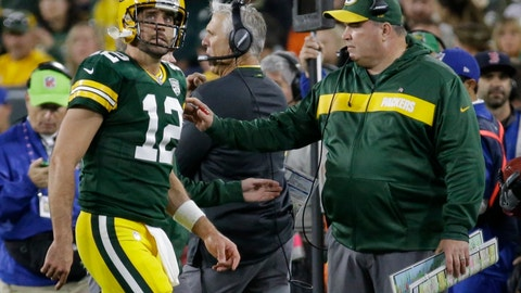 <p>               Green Bay Packers head coach Mike McCarthy looks at Aaron Rodgers as he walks off the field after injuring his leg during the first half of an NFL football game against the Chicago Bears Sunday, Sept. 9, 2018, in Green Bay, Wis. (AP Photo/Mike Roemer)             </p>