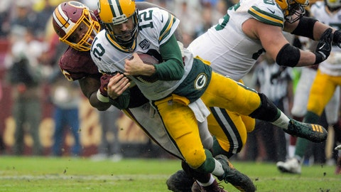 <p>               Green Bay Packers quarterback Aaron Rodgers (12) is sacked by Washington Redskins defensive tackle Da'Ron Payne during the second half of an NFL football game, Sunday, Sept. 23, 2018 in Landover, Md. (AP Photo/Mark Tenally)             </p>
