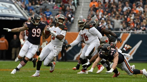 <p>               Tampa Bay Buccaneers quarterback Jameis Winston (3) scrambles during the second half of an NFL football game against the Chicago Bears Sunday, Sept. 30, 2018, in Chicago. (AP Photo/David Banks)             </p>