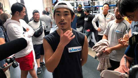 <p>               Super flyweight Kazuto Ioka, of Japan, ponders a question from reporters at the Wild Card West gym in Santa Monica, Calif., Wednesday, Sept. 5, 2018. Ioka is ending his brief retirement to make his U.S. debut against McWilliams Arroyo at the Forum on Saturday. He hopes the bout will lead to a title shot in his fourth weight class. (AP Photo/Greg Beacham)             </p>