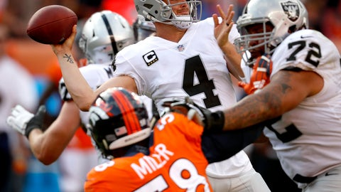 <p>               Oakland Raiders quarterback Derek Carr (4) throws as Denver Broncos linebacker Von Miller (58) pursues during the second half of an NFL football game, Sunday, Sept. 16, 2018, in Denver. The Broncos won 20-19. (AP Photo/David Zalubowski)             </p>