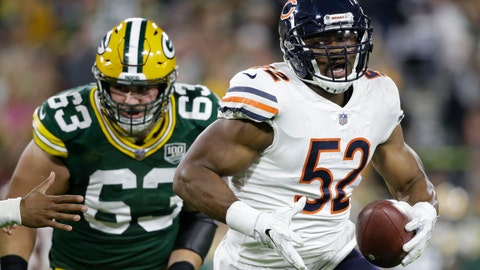 <p>               FILE - In this Sunday, Sept. 9, 2018, file photo, Chicago Bears' Khalil Mack intercepts a pass and returns it for a touchdown during the first half of an NFL football game against the Green Bay Packers in Green Bay, Wis. Mack sat out offseason workouts and the preseason, had just one week to learn a new system following a blockbuster trade and still managed to dominate in his debut for the Chicago Bears. The Bears hope for more of that when they host Russell Wilson and the Seattle Seahawks on Monday night, Sept. 17. (AP Photo/Jeffrey Phelps, File)             </p>