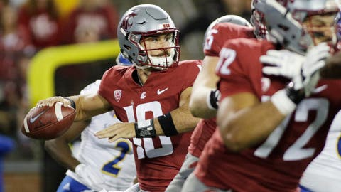 <p>               Washington State quarterback Gardner Minshew II, left, looks to pass during the first half of an NCAA college football game against San Jose State in Pullman, Wash., Saturday, Sept. 8, 2018. (AP Photo/Young Kwak)             </p>