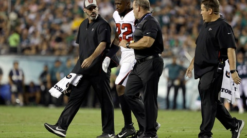<p>               FILE - In this Sept. 6, 2018, file photo, Atlanta Falcons' Keanu Neal (22) is helped off the field after an injury during the first half of an NFL football game against the Philadelphia Eagles, in Philadelphia. Falcons safety Keanu Neal will miss the remainder of the season after hurting his left knee in Thursday night's 18-12 opening loss at Philadelphia. The loss of Neal, a leader on the defense who was selected to his first Pro Bowl in 2017, is a major blow to the Atlanta defense.(AP Photo/Matt Rourke, File)             </p>