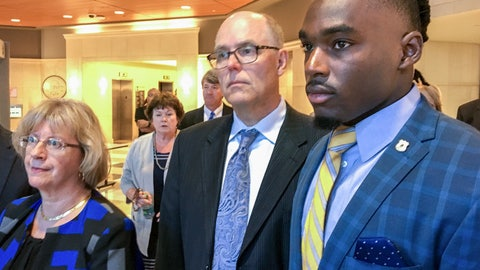 <p>               FILE - In this Aug. 23, 2018, file photo, University of Wisconsin wide receiver Quintez Cephus, right, with his attorneys Kathleen Stalling, left, and Stephen Meyer after appear in court in Madison, Wis. Prosecutors have charged Cephus with second- and third-degree sexual assault. Cephus is scheduled to appear in court Tuesday, Sept. 11, 2018, for a preliminary hearing, during which a judge is expected to decide whether the case is strong enough to proceed to trial. (Ed Treleven/Wisconsin State Journal via AP, File)             </p>