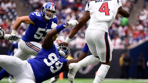 <p>               Houston Texans quarterback Deshaun Watson (4) is tackled by New York Giants defensive end Mario Edwards Jr. (99) during the second half of an NFL football game Sunday, Sept. 23, 2018, in Houston. (AP Photo/Eric Christian Smith)             </p>