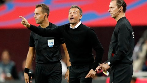 <p>               Spain head coach Luis Enrique, center, gestures during the UEFA Nations League soccer match between England and Spain at Wembley stadium in London, Saturday Sept. 8, 2018. (AP Photo/Frank Augstein)             </p>