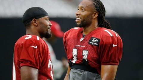 <p>               FILE - In this Aug. 2, 2018, file photo, Arizona Cardinals wide receiver Larry Fitzgerald (11) talks with running back David Johnson (31) during an NFL football practice, in Glendale, Ariz. The Washington Redskins will be trying to give coach Jay Gruden his first victory in a season opener in five tries when they face the Cardinals in Arizona on Sunday. Sept. 9, 2018. The team Gruden will face is something of a mystery, with a rebuilt offense and redesigned defense under new coach Steve Wilks.(AP Photo/Ross D. Franklin, File)             </p>