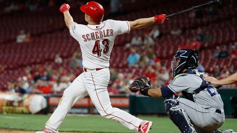<p>               Cincinnati Reds' Scott Schebler watches his grand slam off San Diego Padres relief pitcher Rowan Wick during the sixth inning of a baseball game Friday, Sept. 7, 2018, in Cincinnati. (AP Photo/John Minchillo)             </p>