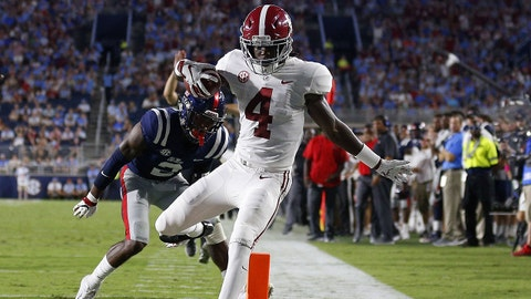 OXFORD, MS - SEPTEMBER 15: Jerry Jeudy #4 of the Alabama Crimson Tide runs with the ball as Montrell Custis #2 of the Mississippi Rebels defends during the first half at Vaught-Hemingway Stadium on September 15, 2018 in Oxford, Mississippi. Jeudy was ruled out of bounds before crossing the goal line. (Photo by Jonathan Bachman/Getty Images)