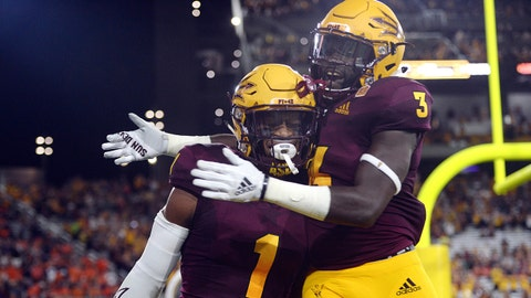 Sep 1, 2018; Tempe, AZ, USA; Arizona State Sun Devils wide receiver N'Keal Harry (1) celebrates with running back Eno Benjamin (3) after making a touchdown catch against the UTSA Roadrunners during the first half at Sun Devil Stadium. Mandatory Credit: Joe Camporeale-USA TODAY Sports