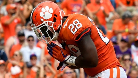 CLEMSON, SC - SEPTEMBER 15: Running back Tavien Feaster #28 of the Clemson Tigers takes a bow toward the stands after scoring a touchdown against the Georgia Southern Eagles during the football game at Clemson Memorial Stadium on September 15, 2018 in Clemson, South Carolina. (Photo by Mike Comer/Getty Images)