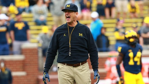 ANN ARBOR, MI - SEPTEMBER 08: Michigan Wolverines head coach Jim Harbaugh during warms up with the team prior to the game against the Western Michigan Broncos at Michigan Stadium on September 8, 2018 in Ann Arbor, Michigan. (Photo by Rey Del Rio/Getty Images)