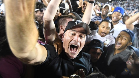 BLACKSBURG, VA - SEPTEMBER 22: Head coach Bobby Wilder of the Old Dominion Monarchs celebrates following the victory against the Virginia Tech Hokies at S. B. Ballard Stadium on September 22, 2018 in Norfolk, Virginia. (Photo by Michael Shroyer/Getty Images)