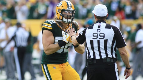 GREEN BAY, WI - SEPTEMBER 16:  Green Bay Packers linebacker Clay Matthews (52) pleads his case with referee Tony Corrente (99) during a game between the Green Bay Packers and the Minnesota Vikings at Lambeau Field on September 16, 2018 in Green Bay, WI. (Photo by Larry Radloff/Icon Sportswire via Getty Images)