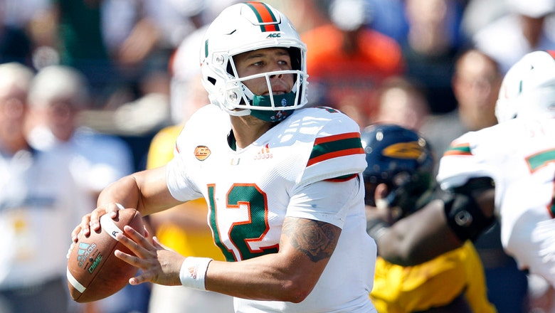 Malik Rosier connects with Jeff Thomas on 38-yard touchdown pass in Miami's win over Toledo