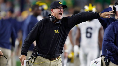 Sep 1, 2018; South Bend, IN, USA; Michigan Wolverines coach Jim Harbaugh coaches on the sidelines against the Notre Dame Fighting Irish during the 3rd quarter at Notre Dame Stadium. Mandatory Credit: Brian Spurlock-USA TODAY Sports