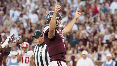 STARKVILLE, MS - SEPTEMBER 15: Quarterback Nick Fitzgerald #7 of the Mississippi State Bulldogs celebrates after scoring a touchdown during their game against the Louisiana-Lafayette Ragin Cajuns in the first quarter on September 15, 2018 at Davis Wade Stadium in Starkville, Mississippi. (Photo by Michael Chang/Getty Images)