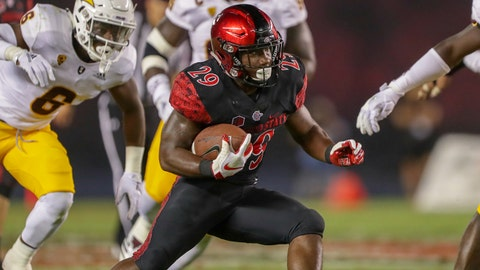 SAN DIEGO, CA - SEPTEMBER 15:  Juwan Washington #29 of the San Diego State Aztecs runs with the ball in the first half against the Arizona State Sun Devils at SDCCU Stadium on September 15, 2018 in San Diego, California.  (Photo by Kent Horner/Getty Images)