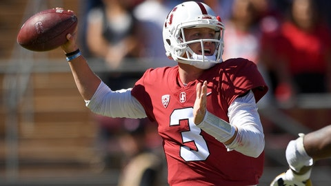 PALO ALTO, CA - SEPTEMBER 15:  K.J. Costello #3 of the Stanford Cardinal drops back to pass against the UC Davis Aggies during the first quarter of an NCAA football game at Stanford Stadium on September 15, 2018 in Palo Alto, California.  (Photo by Thearon W. Henderson/Getty Images)
