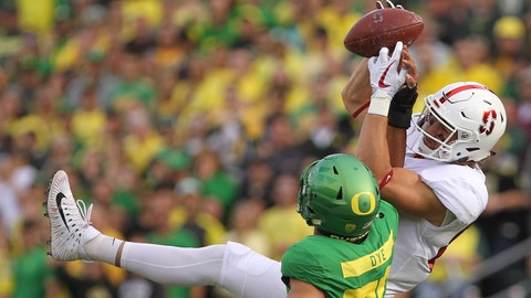 Sep 22, 2018; Eugene, OR, USA;  Oregon Ducks cornerback Charles Sudduth (36) breaks up a pass to Stanford Cardinal tight end Colby Parkinson (84)  in the first half at Autzen Stadium. Mandatory Credit: Jaime Valdez-USA TODAY Sports