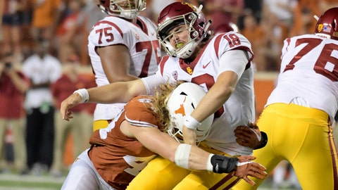 Sep 15, 2018; Austin, TX, USA; Texas Longhorns defensive lineman Breckyn Hager (44) attempts to sack Southern California Trojans quarterback JT Daniels (18) during the second half at Darrell K Royal-Texas Memorial Stadium. Mandatory Credit: Kirby Lee-USA TODAY Sports