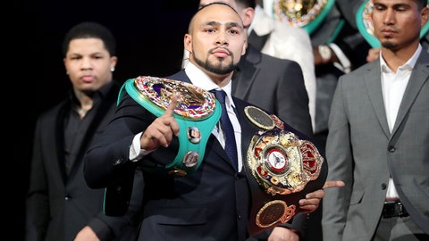 NEW YORK, NY - JANUARY 24: Keith Thurman addresses the media during the 2018 Showtime Championship Boxing Event at Cipriani 42nd Street on January 24, 2018 in New York City.  (Photo by Abbie Parr/Getty Images)