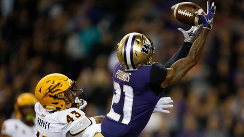 Sep 22, 2018; Seattle, WA, USA; Washington Huskies wide receiver Quinten Pounds (21) cannot catch a pass over Arizona State Sun Devils safety Jalen Harvey (43) during the second quarter at Husky Stadium. Mandatory Credit: Jennifer Buchanan-USA TODAY Sports