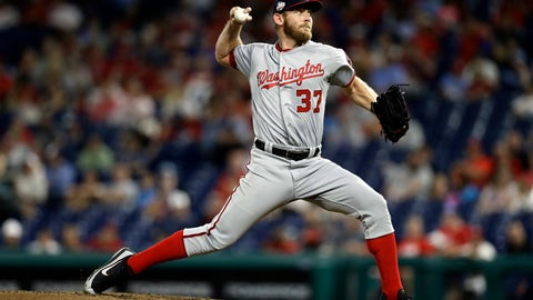 <p>               Washington Nationals' Stephen Strasburg pitches during the second inning of a baseball game against the Philadelphia Phillies, Wednesday, Sept. 12, 2018, in Philadelphia. (AP Photo/Matt Slocum)             </p>