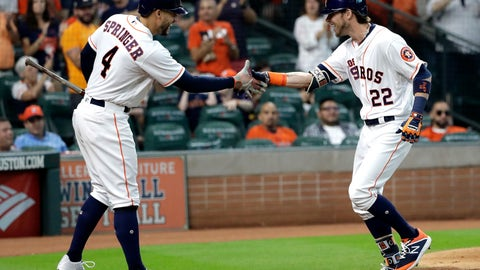 <p>               Houston Astros' Josh Reddick (22) celebrates with George Springer (4) after hitting a home run against the Arizona Diamondbacks during the second inning of a baseball game Saturday, Sept. 15, 2018, in Houston. (AP Photo/David J. Phillip)             </p>