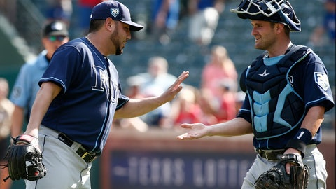 <p>               Tampa Bay Rays pitcher Vidal Nuno and catcher Nick Ciuffo celebrate after beating the Texas Rangers in a baseball game Wednesday, Sept. 19, 2018, in Arlington, Texas. (AP Photo/Mike Stone)             </p>