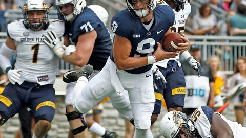 <p>               Penn State quarterback Trace McSorley (9) runs in for a touchdown against Kent State during the first half of an NCAA college football game in State College, Pa., Saturday, Sept. 15, 2018. (AP Photo/Chris Knight)             </p>
