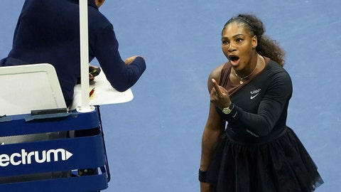 """<p>               FILE - In this Saturday, Sept. 8, 2018, file photo, Serena Williams argues with the chair umpire during a match against Naomi Osaka, of Japan, during the women's finals of the U.S. Open tennis tournament at the USTA Billie Jean King National Tennis Center,  in New York. Some black women say Serena Williams' experience at the U.S. Open final resonates with them. They say they are often forced to watch their tone and words in the workplace in ways that men and other women are not. Otherwise, they say, they risk being branded an """"Angry Black Woman."""" (Photo by Greg Allen/Invision/AP, File)             </p>"""
