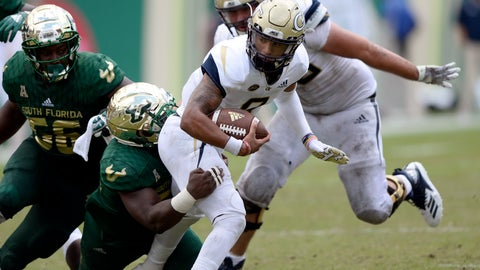 <p>               Georgia Tech quarterback Tobias Oliver (8) is tackled by the South Florida defense during the third quarter of an NCAA football game Saturday, Sept. 8, 2018, in Tampa, Fla. (AP Photo/Jason Behnken)             </p>