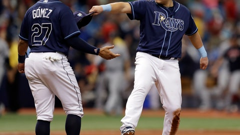 <p>               Tampa Bay Rays' Ji-Man Choi, of South Korea, celebrates with Carlos Gomez after the Rays defeated the Cleveland Indians 3-1 during a baseball game Wednesday, Sept. 12, 2018, in St. Petersburg, Fla. (AP Photo/Chris O'Meara)             </p>