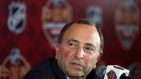 <p>               NHL Commissioner Gary Bettman attends a press conference before an NHL China Games hockey game between the Boston Bruins and the Calgary Flames in Shenzhen in southern China's Guangdong province, Saturday, Sept. 15, 2018. (Color China Photo via AP)             </p>