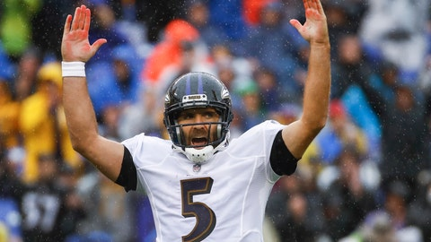 <p>               Baltimore Ravens quarterback Joe Flacco (5) celebrates his touchdown pass to wide receiver John Brown during the first half of an NFL football game against the Buffalo Bills, Sunday, Sept. 9, 2018 in Baltimore. (AP Photo/Patrick Semansky)             </p>