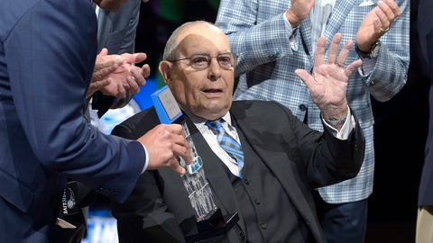 <p>               FILE - In this March 29, 2016, file photo, Orlando Magic owner Richard DeVos, center, is inducted into the Orlando Magic Hall of Fame, as his son Dick DeVos, right, applauds before an NBA basketball game in Orlando, Fla. Presenting DeVos with a memento is Orlando Magic CEO Alex Martins, left. Billionaire Richard DeVos, co-founder of direct-selling giant Amway, owner of the Magic and father-in-law of Education Secretary Betsy DeVos, died Thursday, Sept. 6, 2018. He was 92. (AP Photo/Phelan M. Ebenhack, File)             </p>