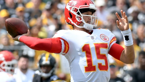 <p>               Kansas City Chiefs quarterback Patrick Mahomes (15) plays in the first quarter of an NFL football game against the Pittsburgh Steelers, Sunday, Sept. 16, 2018, in Pittsburgh. (AP Photo/Don Wright)             </p>