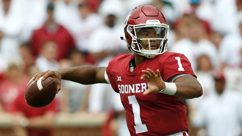 <p>               Oklahoma quarterback Kyler Murray (1) throws in the second quarter of an NCAA college football game against UCLA in Norman, Okla., Saturday, Sept. 8, 2018. (AP Photo/Sue Ogrocki)             </p>